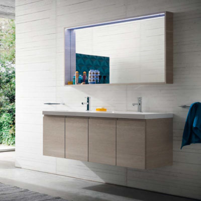 CL026 - Mobile arredo bagno design doppio lavabo L.141 cm personalizzabile COMPAB