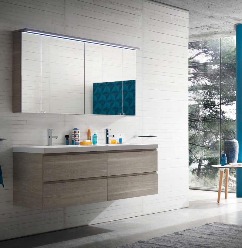 cl027 - mobile arredo bagno design doppio lavabo l.141 cm ... - Arredo Bagno Mobili Senza Lavabo