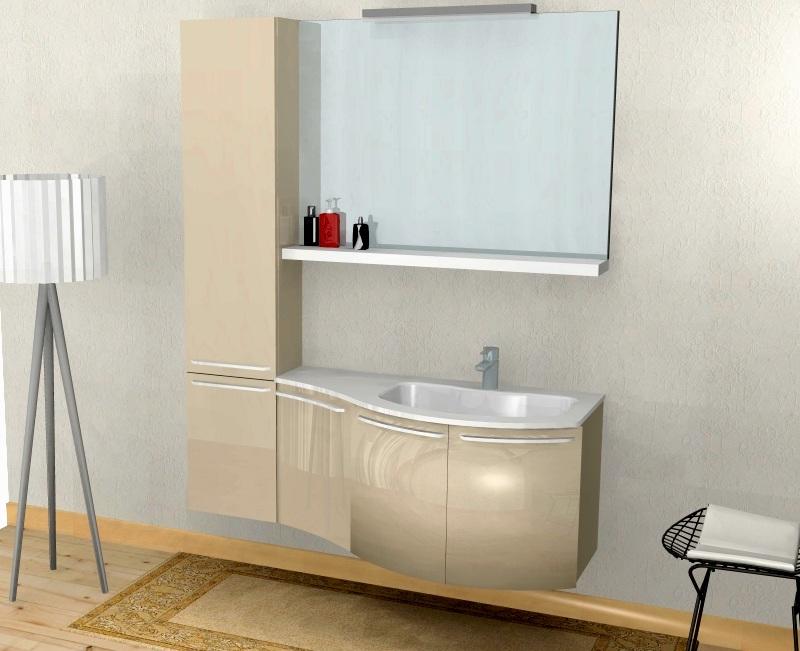 b201 51 ? mobile arredo bagno curvo l.140,5 cm personalizzabile ... - Arredo Bagno Colonna