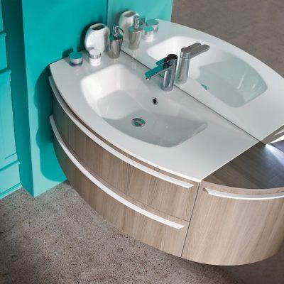 B201 14 Versus – Mobile arredo bagno curvo L.121 cm personalizzabile COMPAB