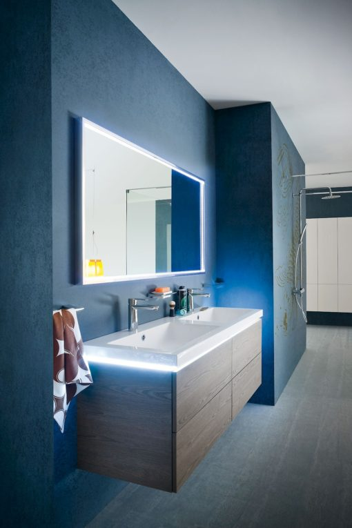 B201 18 - Mobile arredo bagno design doppio lavabo L.141 cm personalizzabile COMPAB