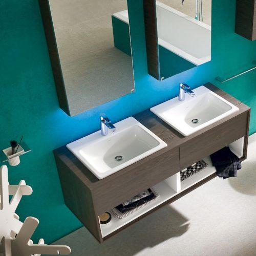 b201 32 - mobile arredo bagno design doppio lavabo l.144 cm ... - Arredo Bagno Doppio Lavabo
