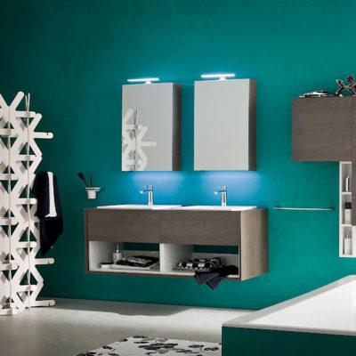 B201 32 - Mobile arredo bagno design doppio lavabo L.144 cm personalizzabile COMPAB