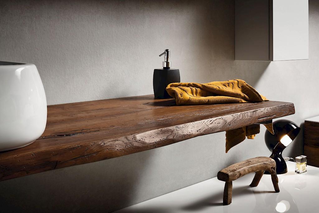 Accessori Bagno In Legno Massello : Mensola top piano appoggio lavabo in legno massello design top
