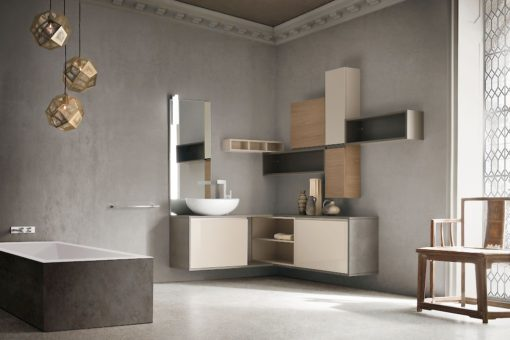 JACANA JA41 - Mobile luxury arredo bagno L.142+190 cm personalizzabile COMPAB