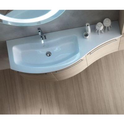 ELY W705 - Mobile arredo bagno design curvo L.120,5 cm personalizzabile ARCOM