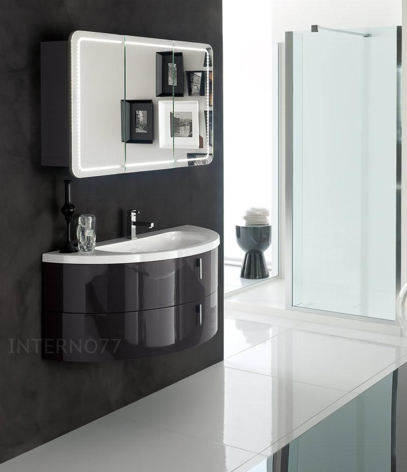 Qt02 mobile bagno curvo moderno sospeso mezza luna a 2 - Mobile bagno moderno ...