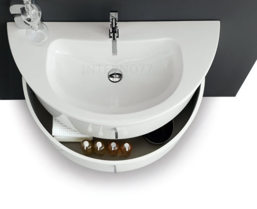 QT02 - Mobile bagno curvo moderno sospeso mezza luna a 2 cassetti L.86/96/106 cm QUANTUM