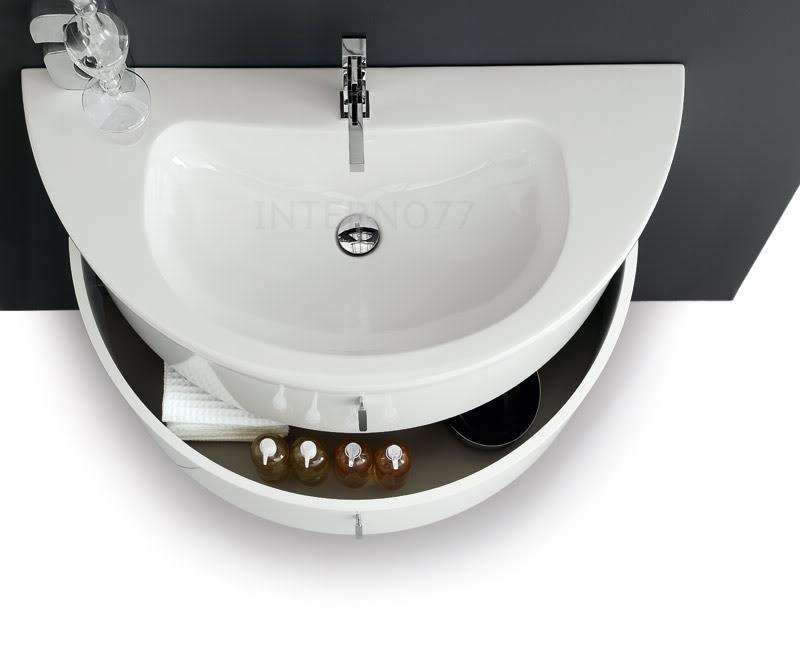 Qt02 mobile bagno curvo moderno sospeso mezza luna a 2 for Mobile bagno moderno ebay