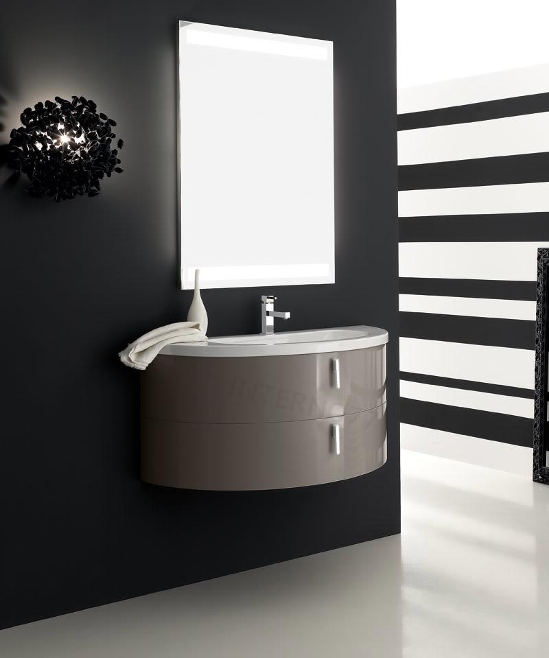 Qt02 mobile bagno curvo moderno sospeso mezza luna a 2 - Mobile bagno moderno sospeso ...