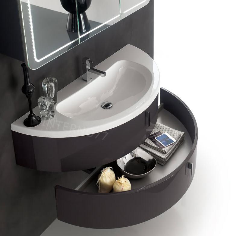 Qt02 mobile bagno curvo moderno sospeso mezza luna a 2 cassetti cm quantum - Mobile bagno curvo ...