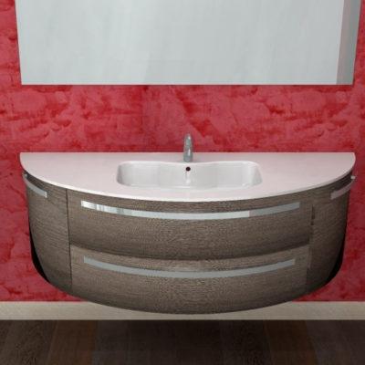 B201 Versus A655 – Mobile arredo bagno curvo L.147 cm personalizzabile COMPAB