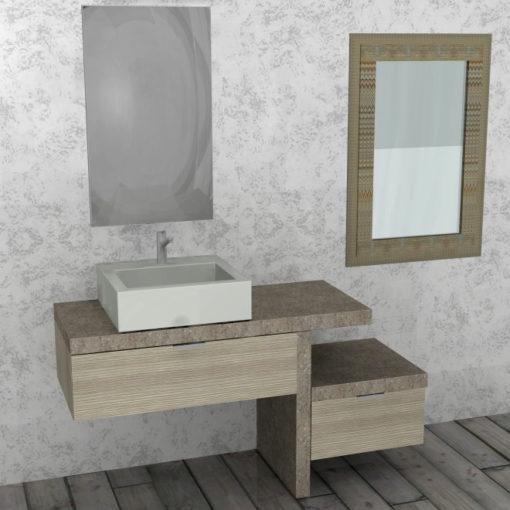 PK77 - Mobile arredo bagno design L.141 cm personalizzabile COMPAB