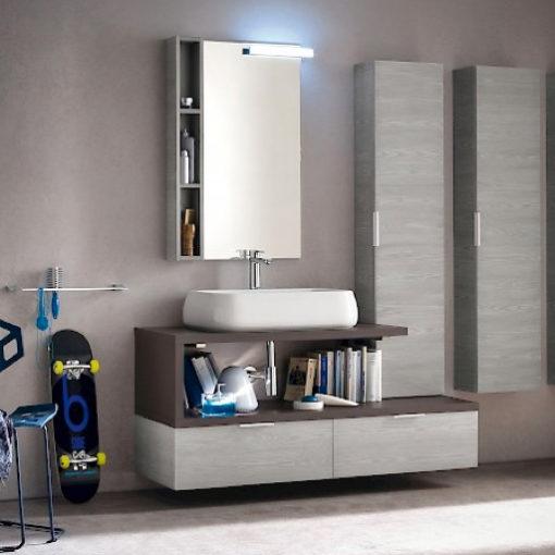 B201 31 - Mobile arredo bagno design sospeso L.140 cm personalizzabile COMPAB