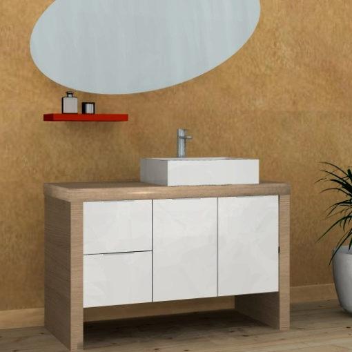 B201 85 - Mobile arredo bagno design L.117 cm personalizzabile COMPAB