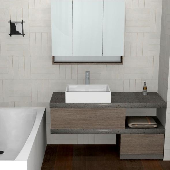B201 78 - Mobile arredo bagno design in top pietra L.130 cm personalizzabile COMPAB - INTERNO77 ...