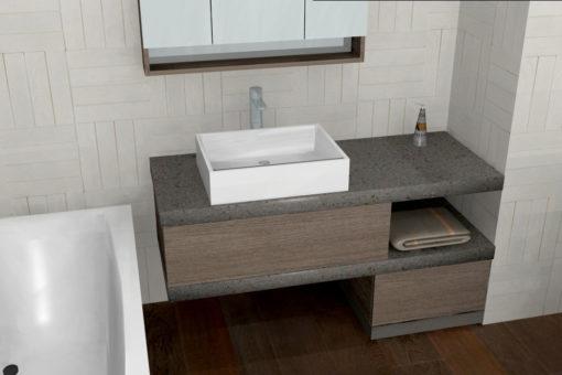 B201 78 - Mobile arredo bagno design in top pietra L.130 cm personalizzabile COMPAB
