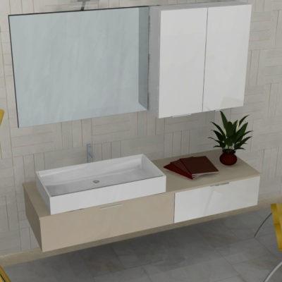 B201 41 - Mobile arredo bagno design L.165 cm personalizzabile COMPAB
