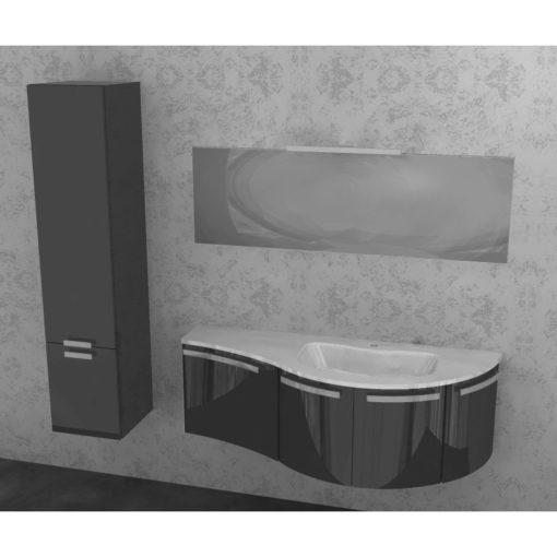 ELY W702 - Mobile arredo bagno design curvo L.140,5 cm con colonna personalizzabile ARCOM