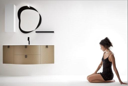 BARBET BB15 – Mobile arredo bagno elegante curvo L.141 cm personalizzabile COMPAB