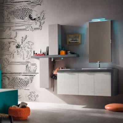 B201 17 - Mobile arredo bagno moderno L.126 cm personalizzabile COMPAB