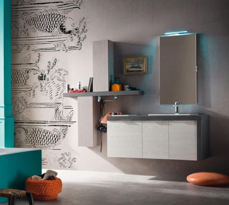 B201 17 - Mobile arredo bagno moderno L.126 cm personalizzabile ...