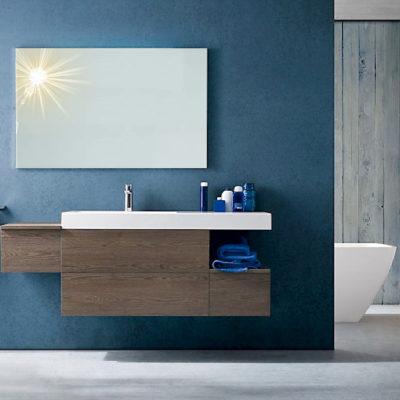 B201 28 - Mobile arredo bagno moderno L.156 cm personalizzabile COMPAB