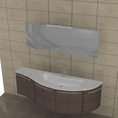 ELY W902 - Mobile arredo bagno design curvo L.171 cm personalizzabile ARCOM