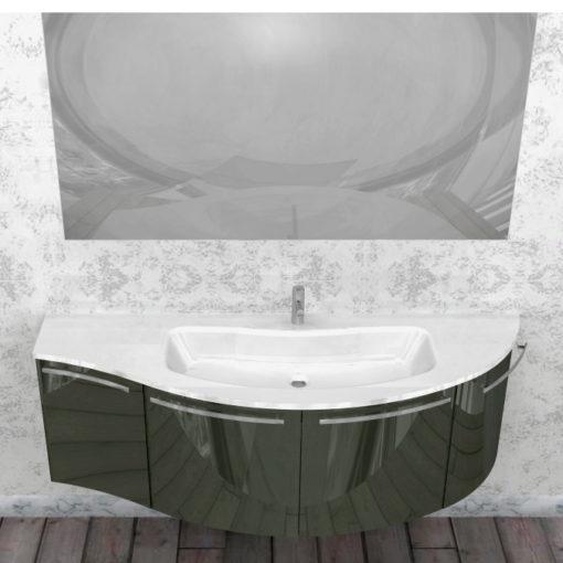 ELY W903 - Mobile arredo bagno design curvo L.156,5 cm personalizzabile ARCOM