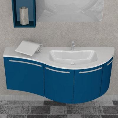 ELY W702 - Mobile arredo bagno design curvo L.140 cm personalizzabile ARCOM