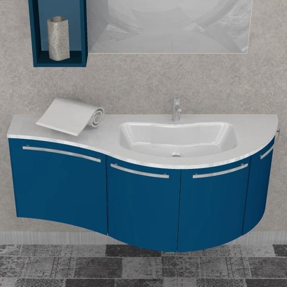 Ely w702 mobile arredo bagno design curvo cm for Mobili bagno 140 cm