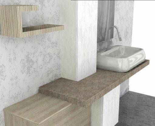 LY43 - Mobile arredo bagno design con pensile L.190 cm personalizzabile COMPAB