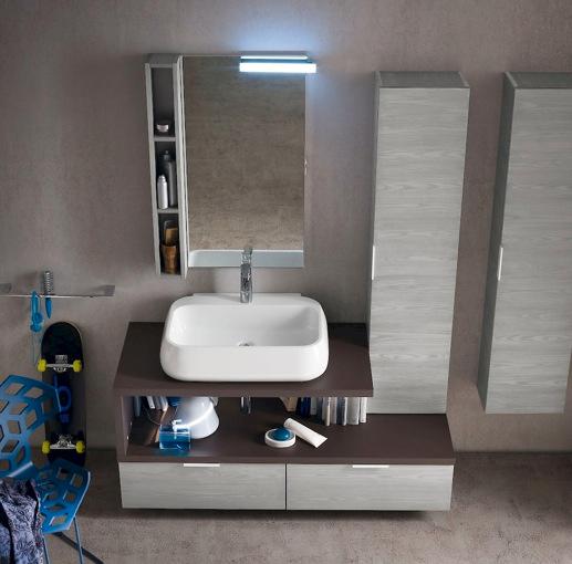 B201 31 mobile arredo bagno design sospeso cm for Mobili bagno 140 cm
