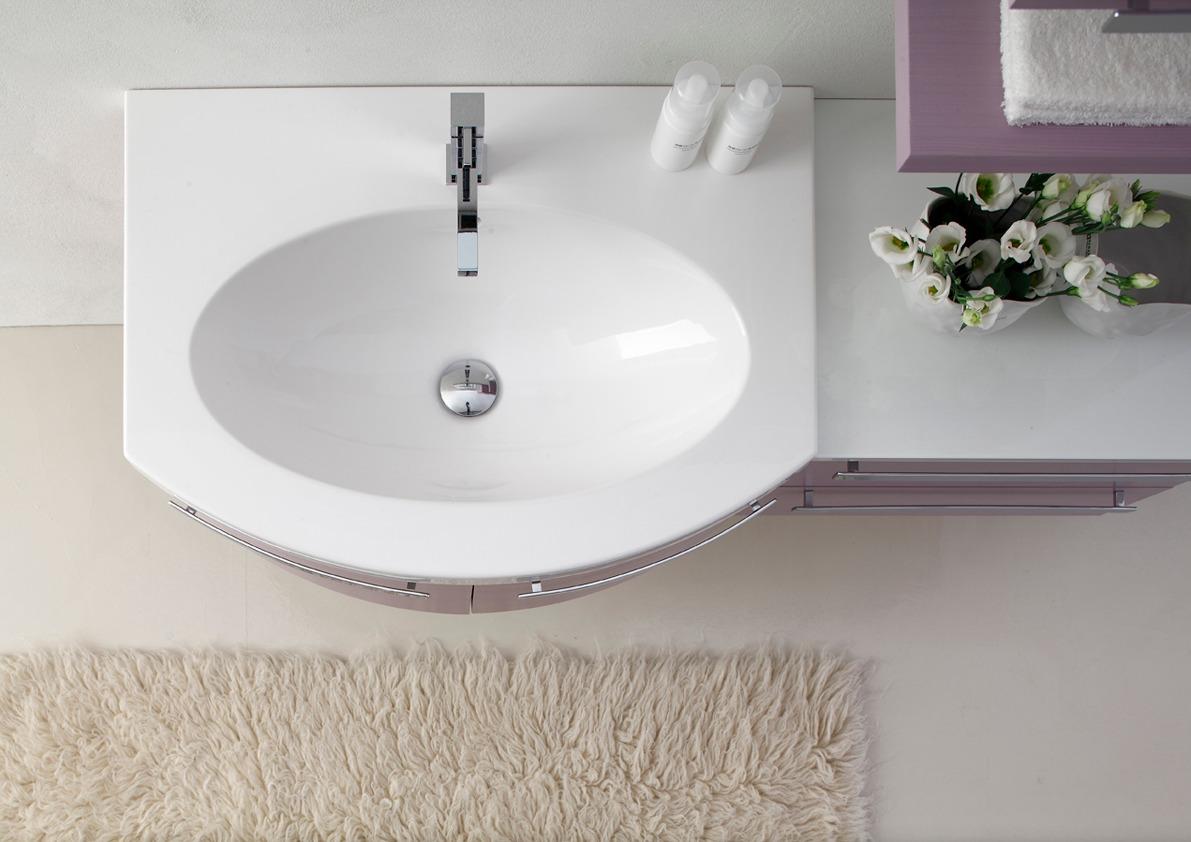 LY11 - Mobile arredo bagno design curvo L.120 cm personalizzabile ...