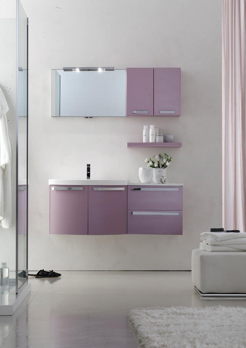 Ly11 mobile arredo bagno design curvo cm - Arcom mobili bagno ...