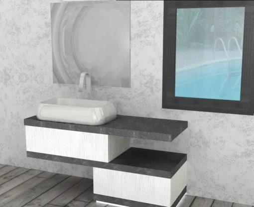 EL20 – Mobile arredo bagno design sospeso L.140 cm personalizzabile COMPAB