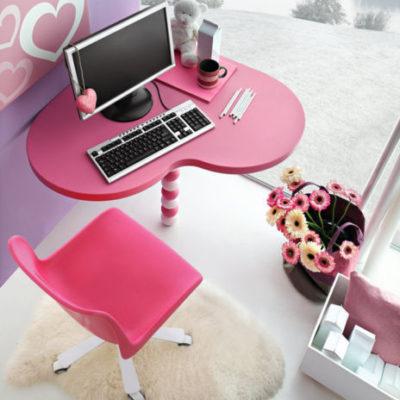 Scrivania angolo con sedia per cameretta cuore – mod. linea cuore MAB