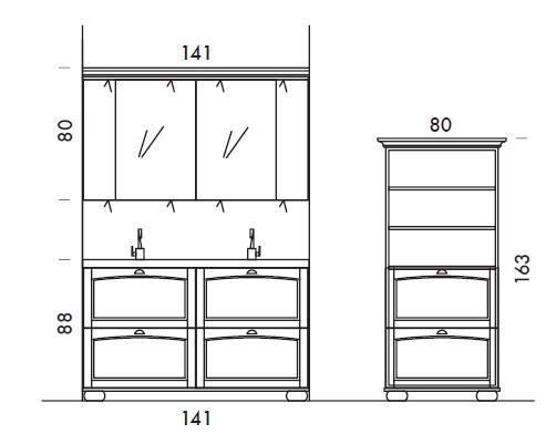 Acanthis AC16 - Mobile luxury arredo bagno L 141,5+80 x P 51,2/42 cm personalizzabile COMPAB