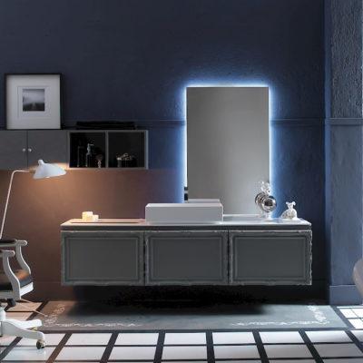 Delichon DH14 - Mobile luxury arredo bagno L 140+211 x P 20,8/56 cm personalizzabile COMPAB