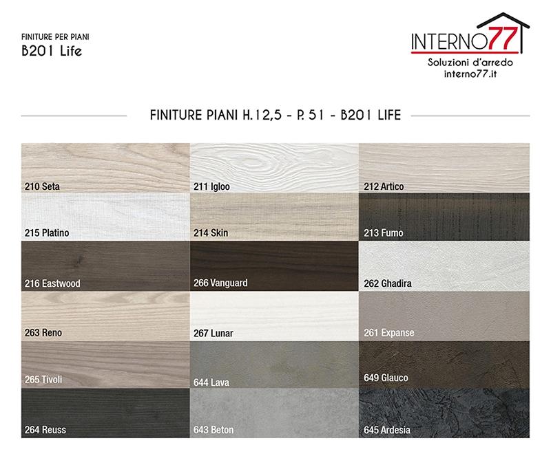 B201 LIFE - FINITURE PIANI ALTEZZA 12,5 CM - PROFONDITA' 51