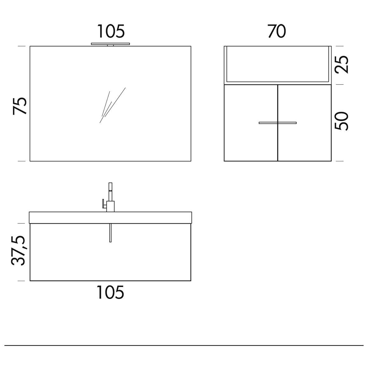 b201 66 life - mobile arredo bagno design l 106+70 cm ... - Misure Arredo Bagno
