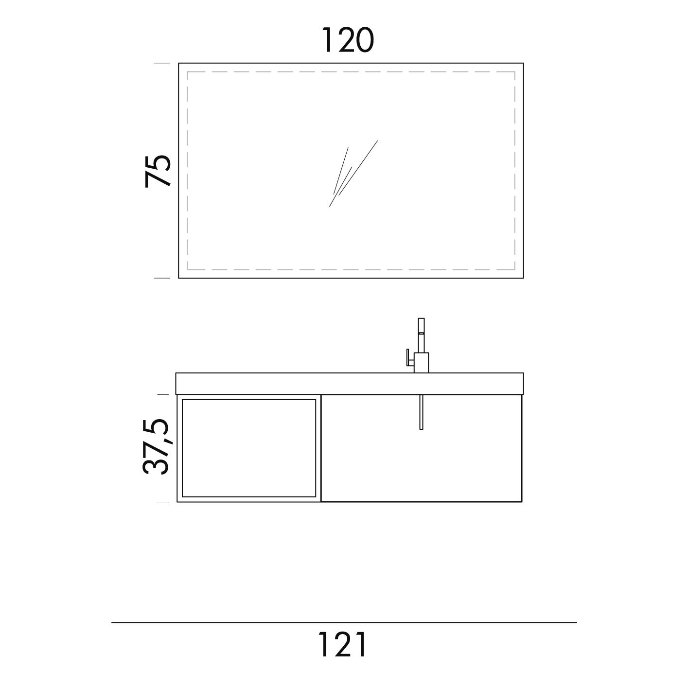 b201 67 life - mobile arredo bagno design l 121 x p 40 cm ... - Arredo Bagno Misure