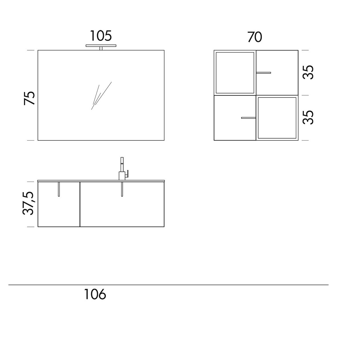 b201 69 life - mobile arredo bagno design l 105,5+70 x p 51,5/20,8 ... - Misure Arredo Bagno