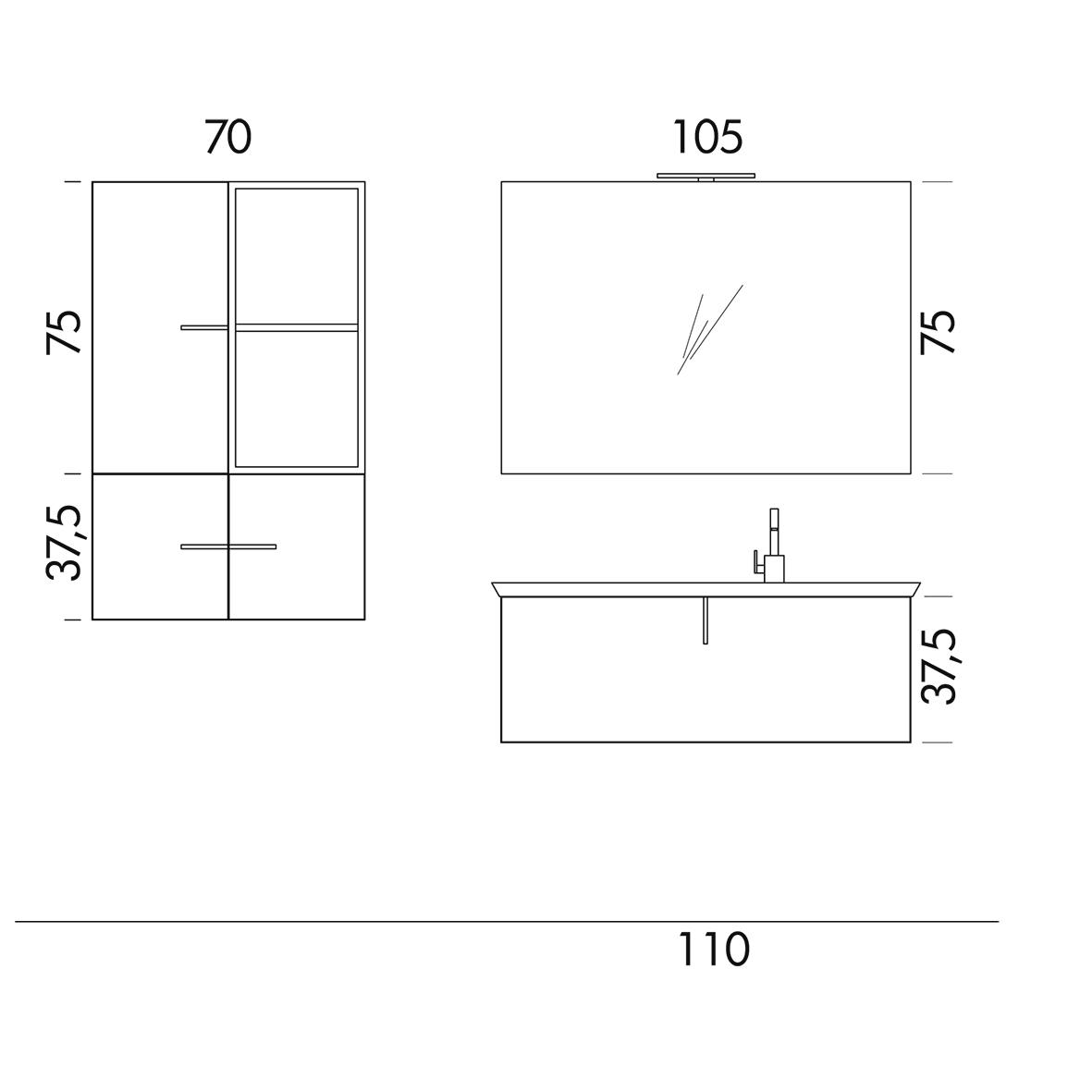 b201 73 life - mobile arredo bagno design l 70+110,5 x p 20,8/54 ... - Arredo Bagno Misure