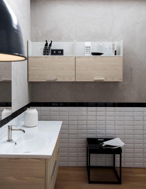 B201 74 Life - Mobile arredo bagno design L 110,5+140 x P 54/20,8 cm personalizzabile COMPAB