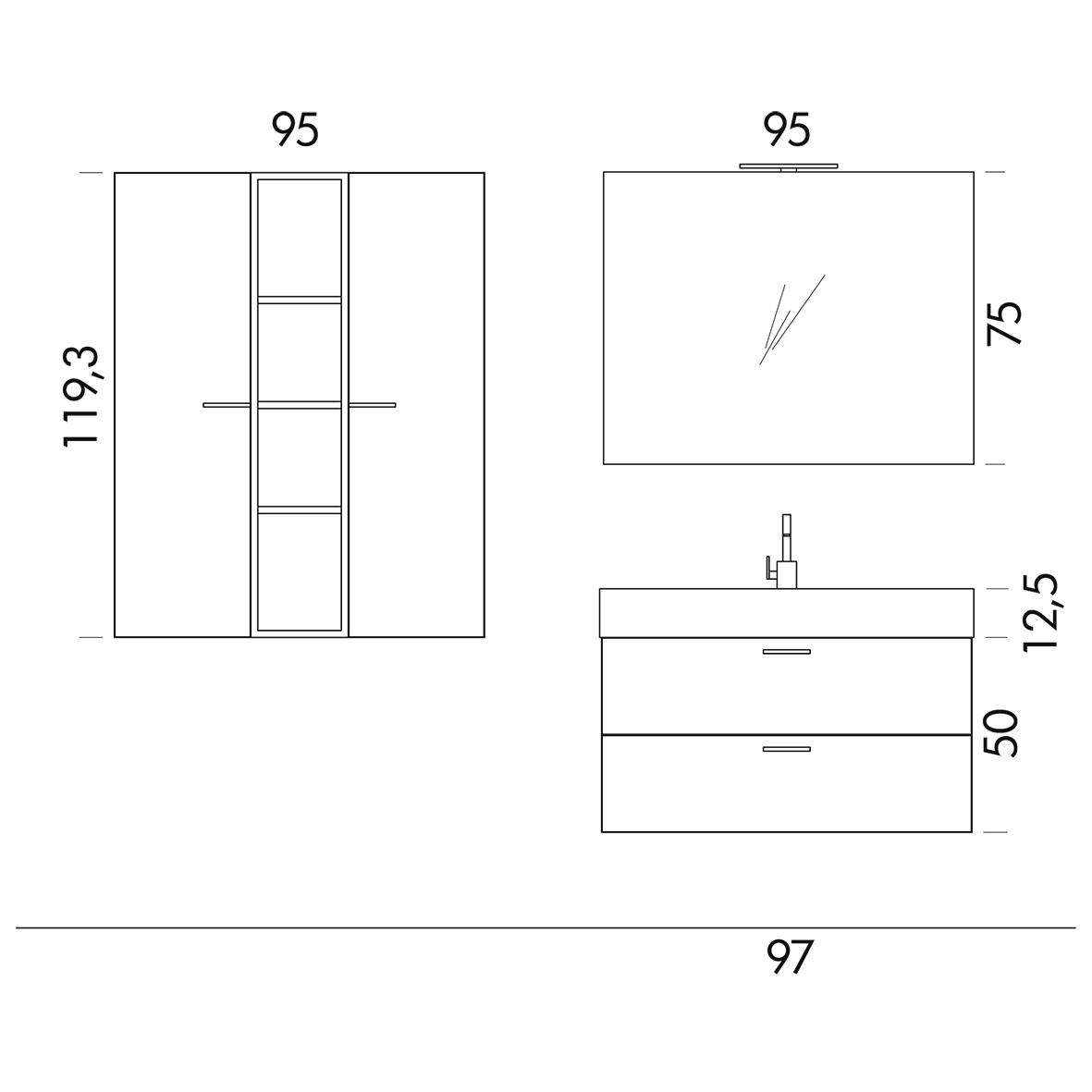 b201 77 life - mobile arredo bagno design l 95+97 x p 20,8/51,5 cm ... - Misure Arredo Bagno