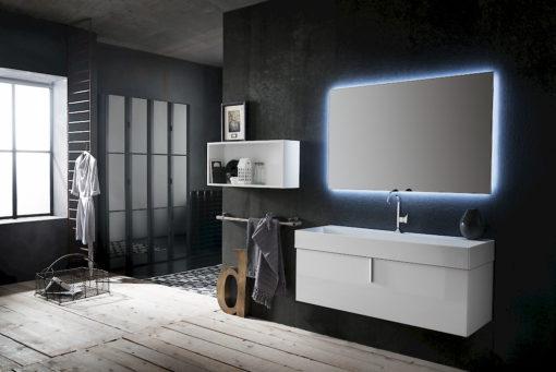 B201 78 Life - Mobile arredo bagno design L 85+122 x P 20,8/51,5 cm personalizzabile COMPAB