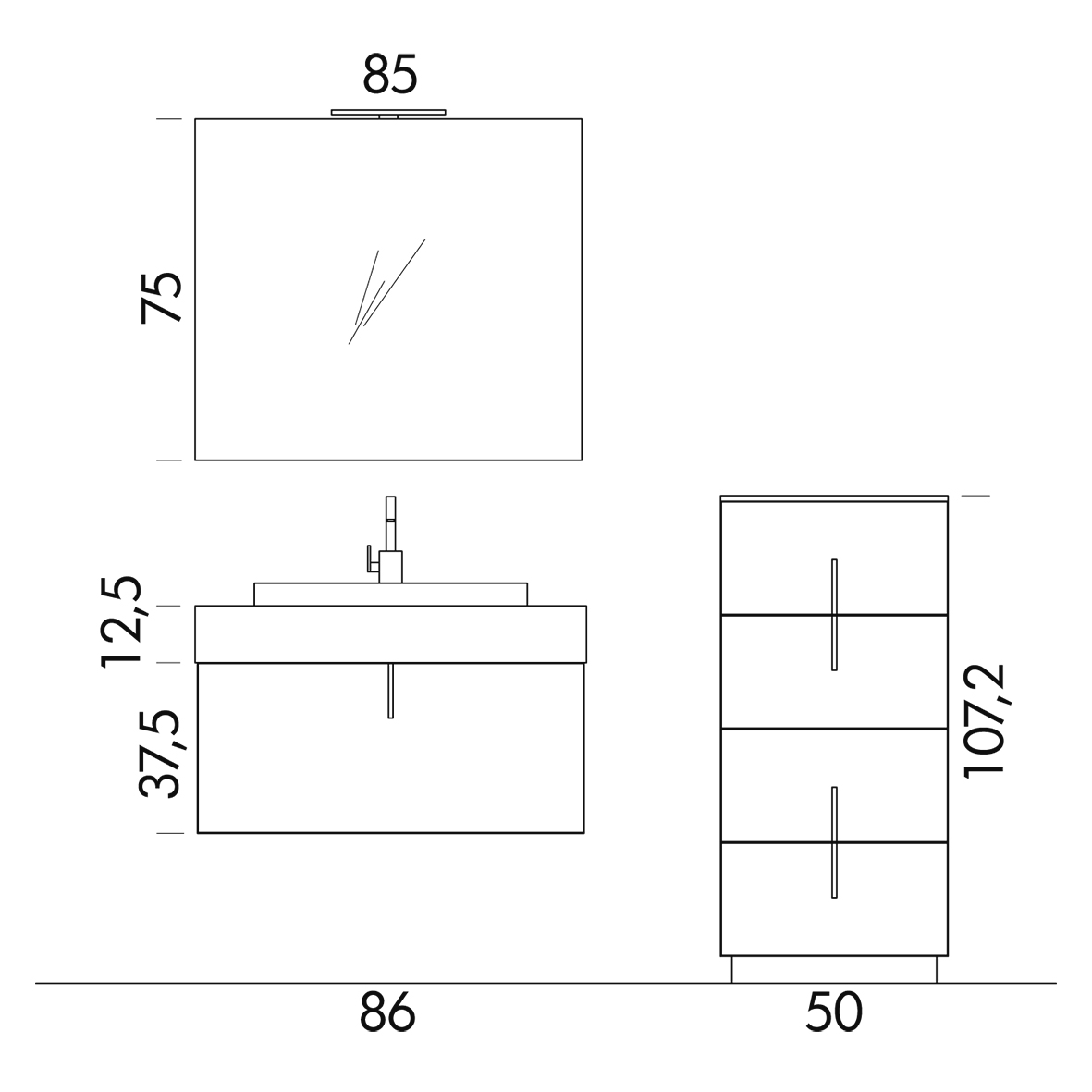 b201 81 life - mobile arredo bagno design l 86+50 x p 51/38 cm ... - Misure Arredo Bagno