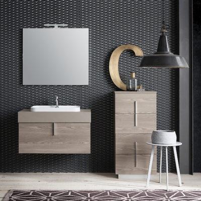 B201 81 Life - Mobile arredo bagno design L 86+50 x P 51/38 cm personalizzabile COMPAB