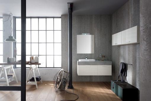 B201 82 Life - Mobile arredo bagno design L 121+140 x P 51/20,8 cm personalizzabile COMPAB